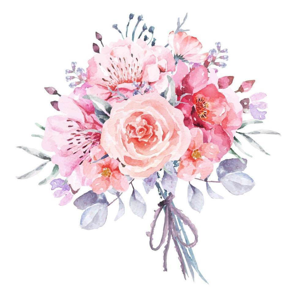 buquê de flores pintadas com aquarelas vetor