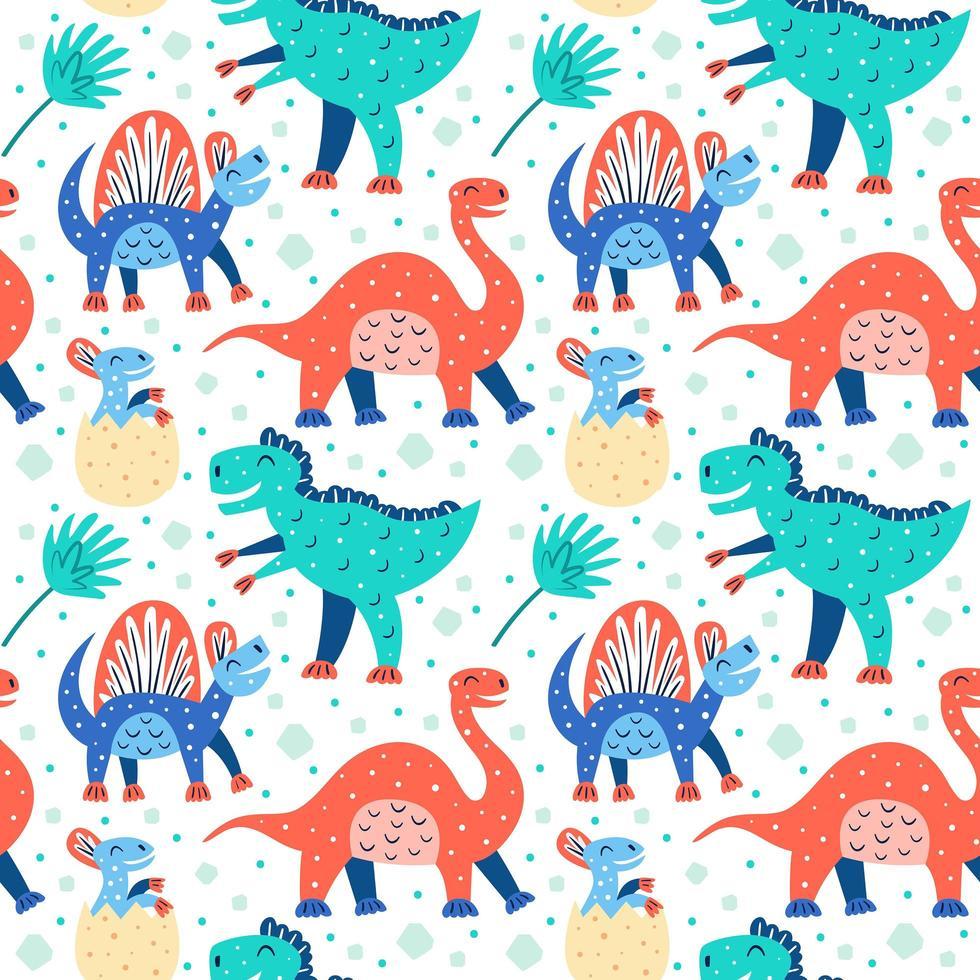 padrão de dinossauro fofo vetor