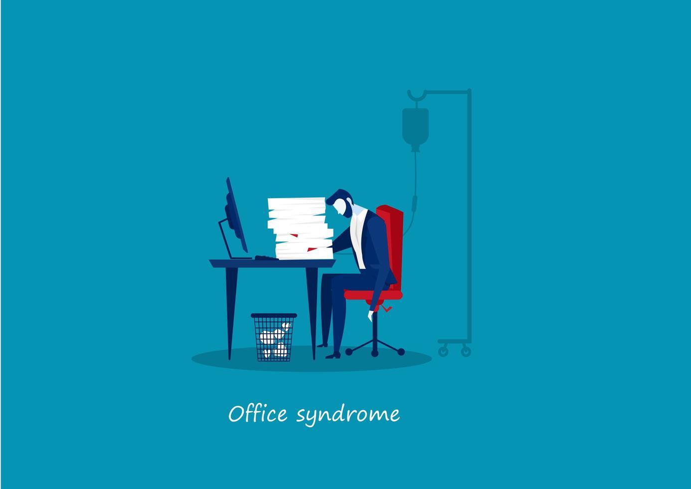 homem de negócios cansado com síndrome de escritório vetor