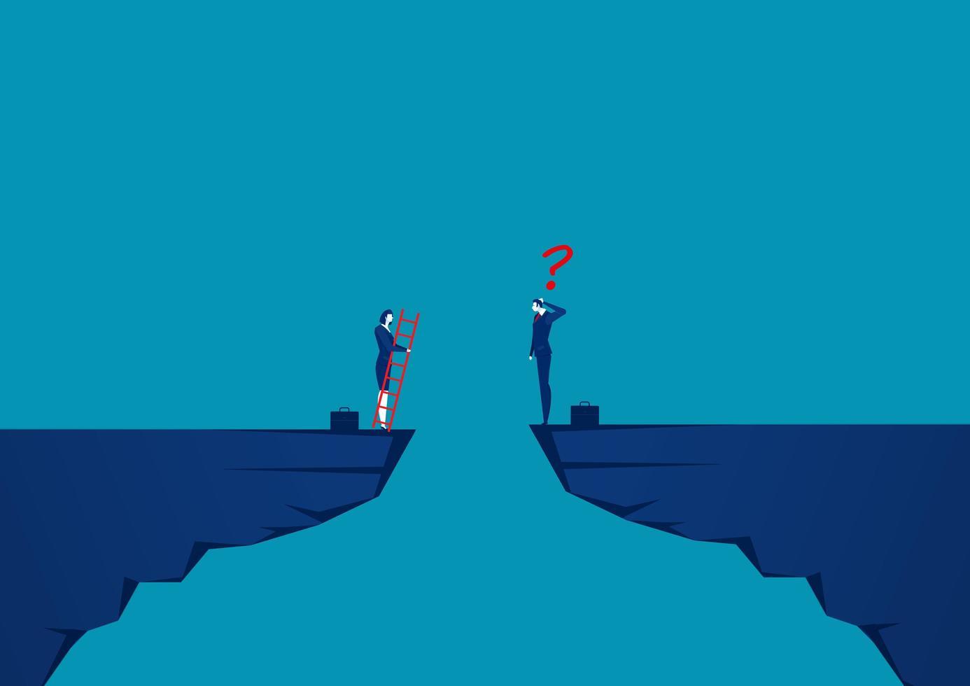 pessoas de negócios competem do outro lado do penhasco para a meta vetor
