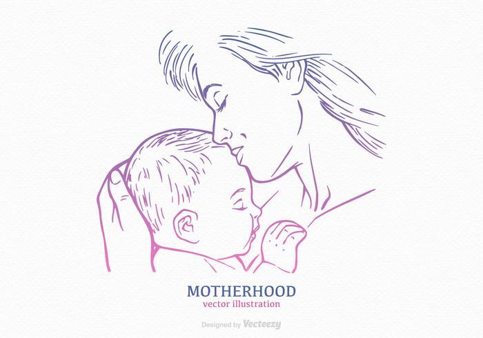 Silhueta Drawn Silhouette Grátis Mãe E Criança vetor