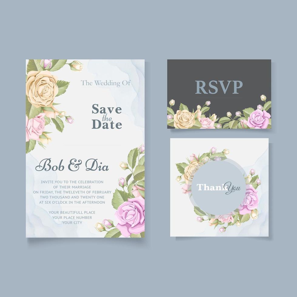 salvar a data e o conjunto de quadros de rosas rsvp vetor