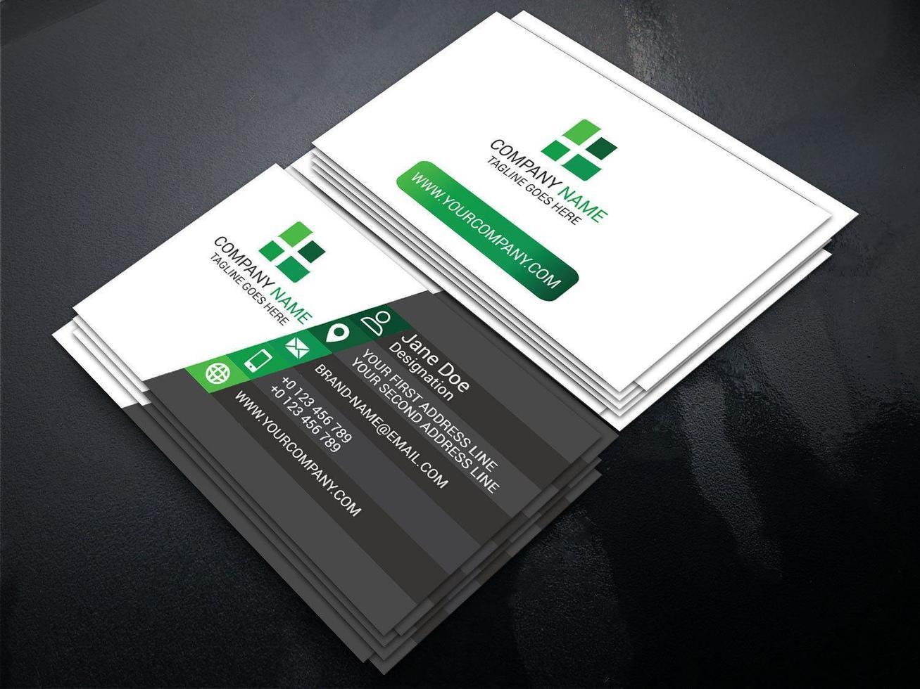 cartão de visita cinzento, verde e branco angular vetor
