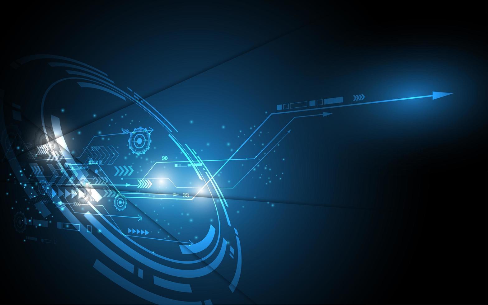 design de tecnologia brilhante azul hi-tech escuro vetor