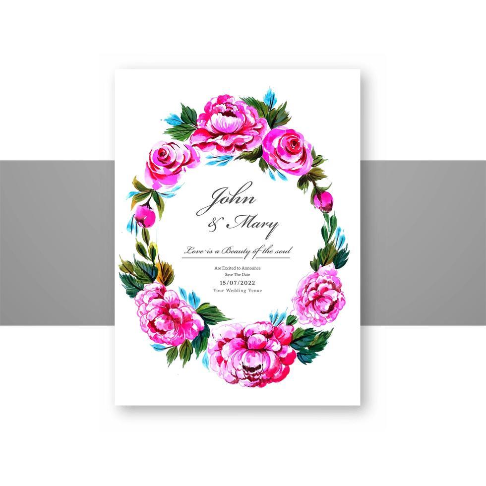 convite de casamento flores decorativas moldura circular cartão vetor