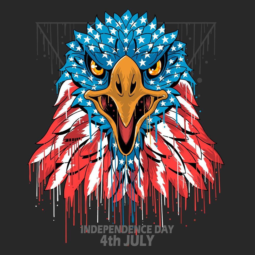 águia cabeça bandeira americana vetor