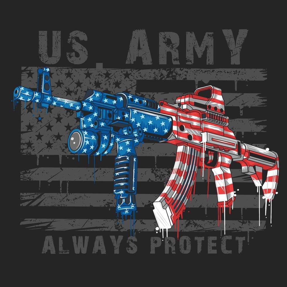 metralhadoras ak47 coloridas bandeiras americanas vetor