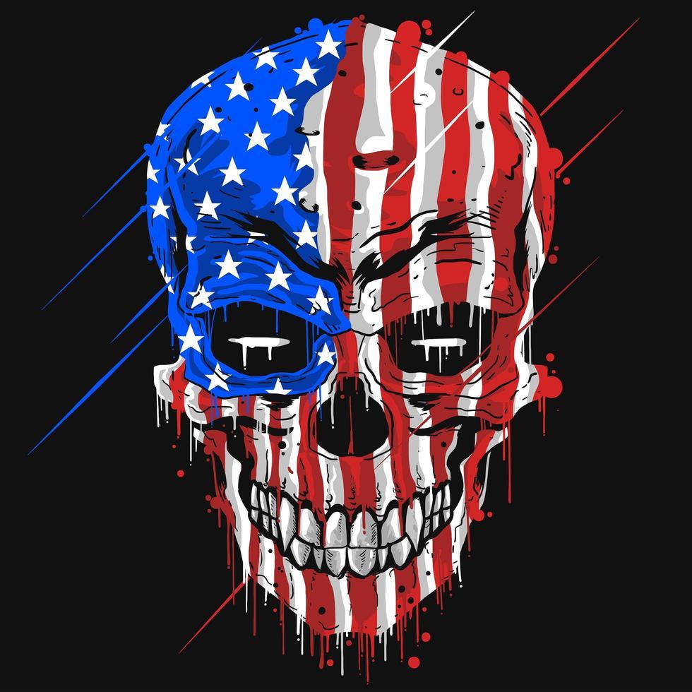 crânio com uma bandeira americana vetor