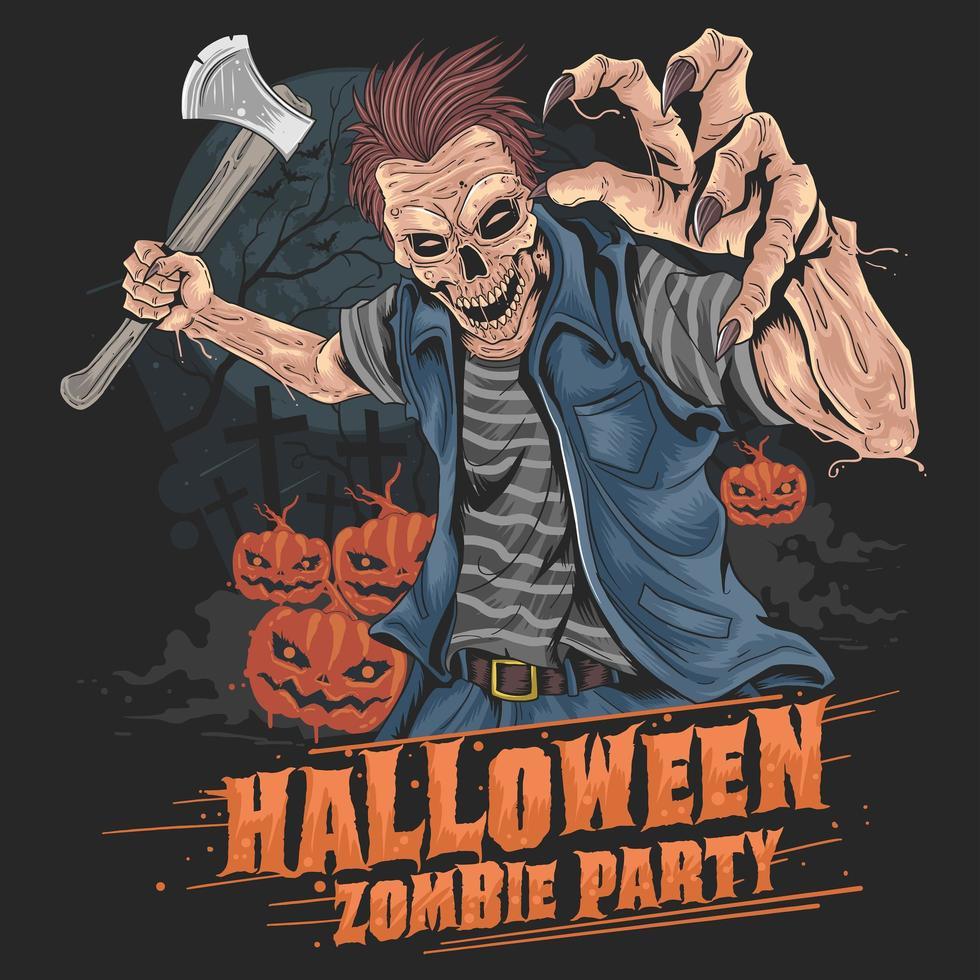 festa de halloween zumbi vetor