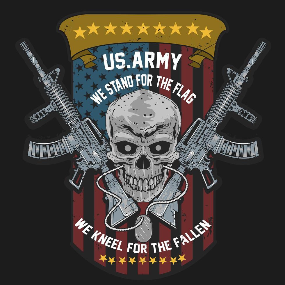 crânio com metralhadoras vetor