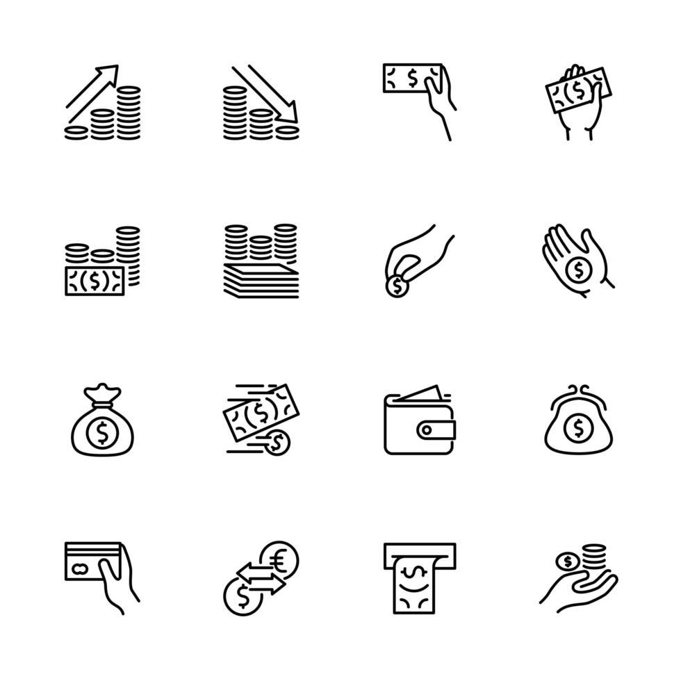 conjunto de ícones de dinheiro e pagamento vetor