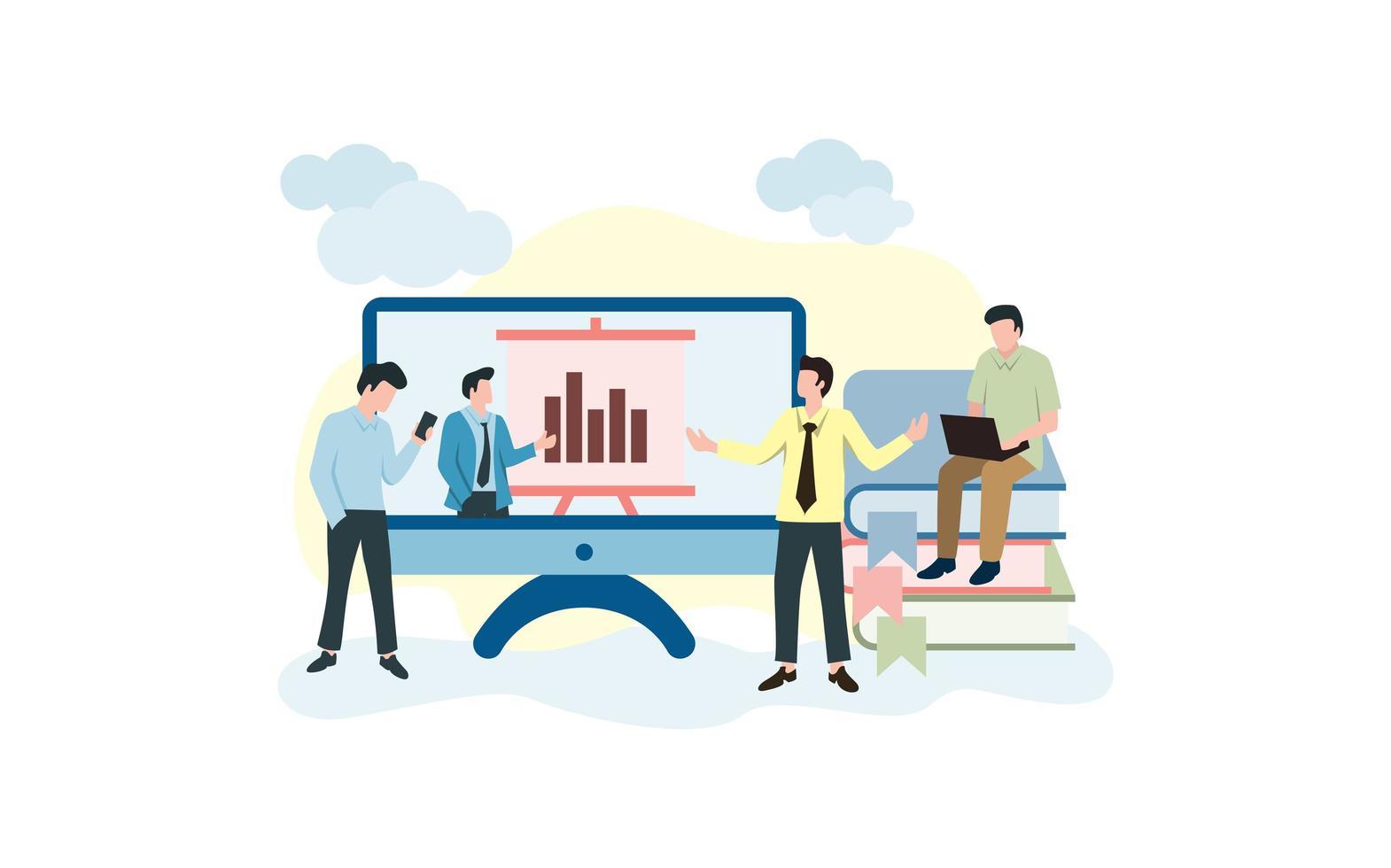 atividade de pessoas relacionada à apresentação on-line vetor