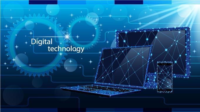 conjunto de tecnologia digital em design de baixo poli vetor