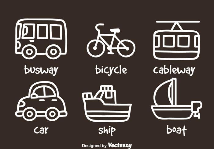 Ícones de desenho de mão de transporte vetor
