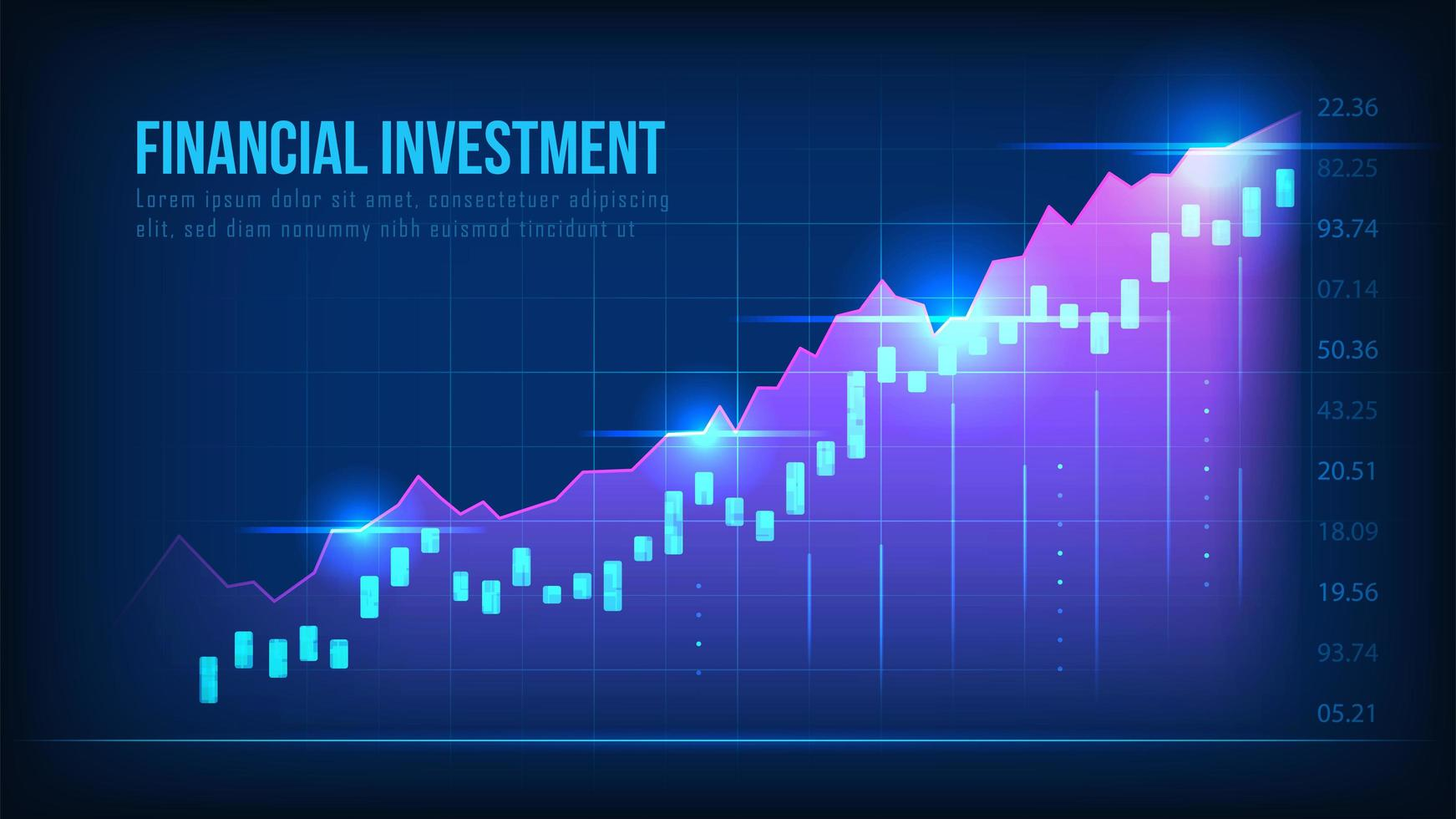 gráfico de crescimento do mercado de ações vetor
