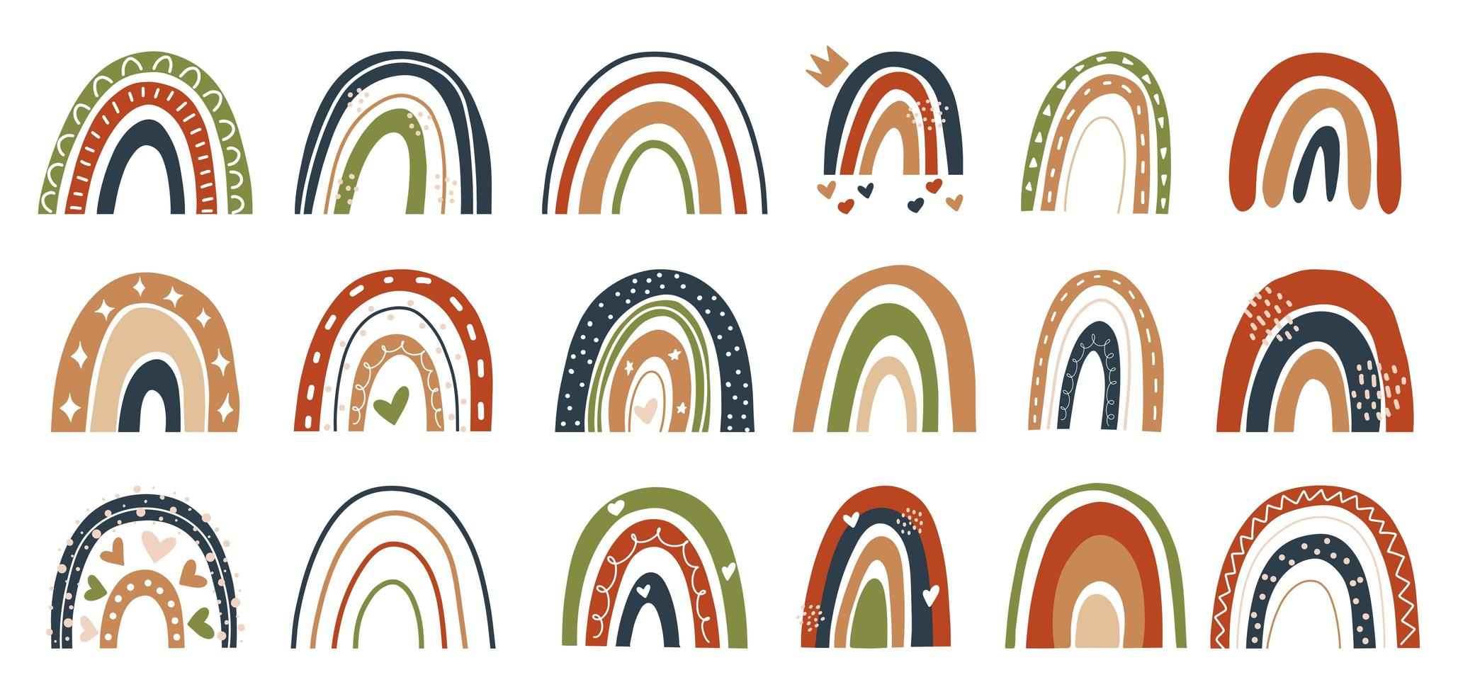 estilo escandinavo mão desenhada arco-íris marrom, vermelho, verde, vetor