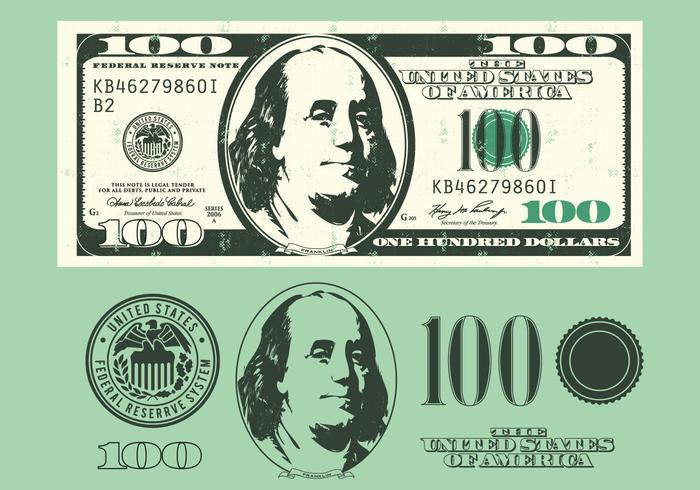 Elementos de conta de 100 dólares vetor