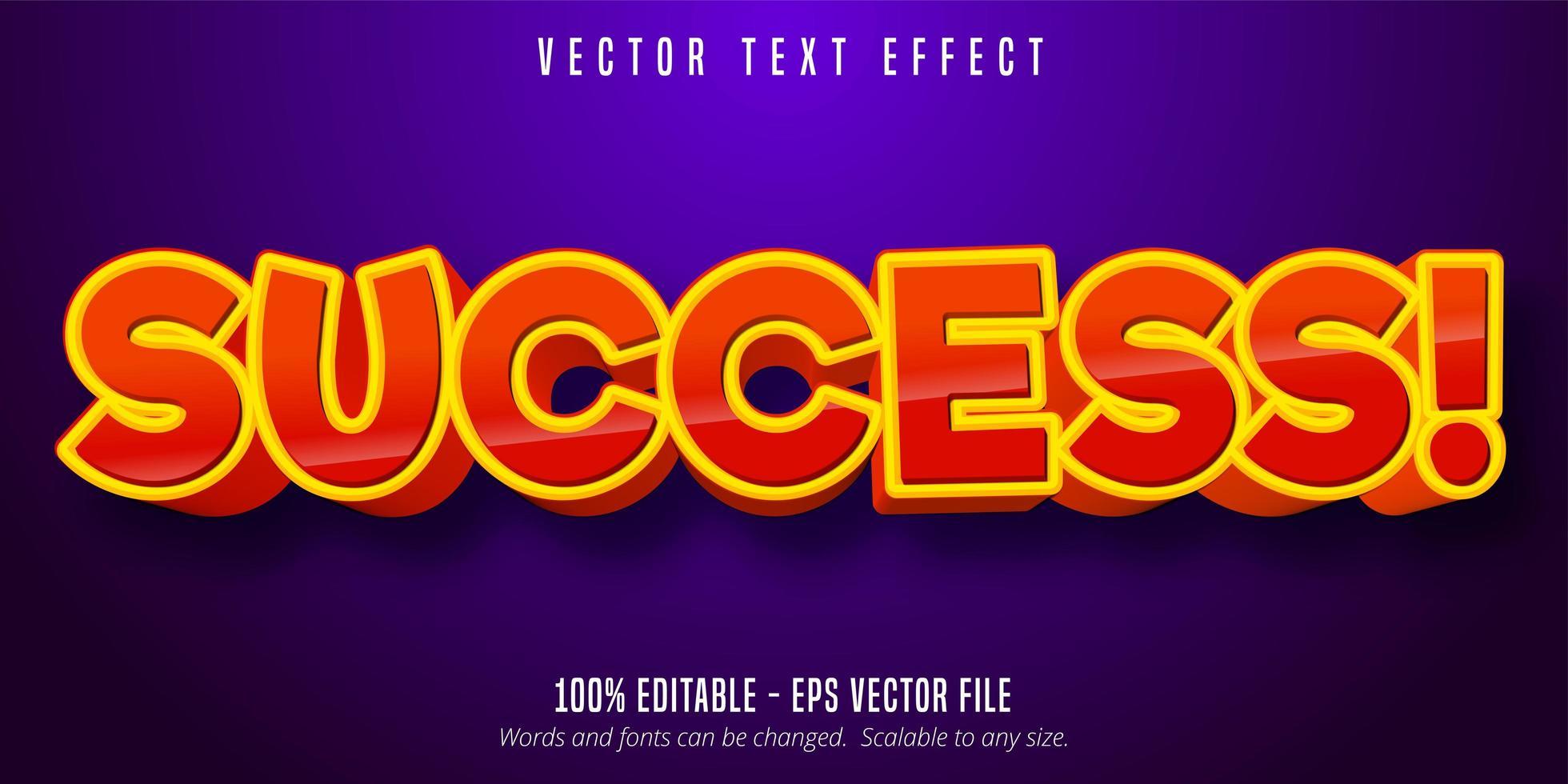 efeito de texto editável de estilo cômico laranja vermelho de sucesso vetor