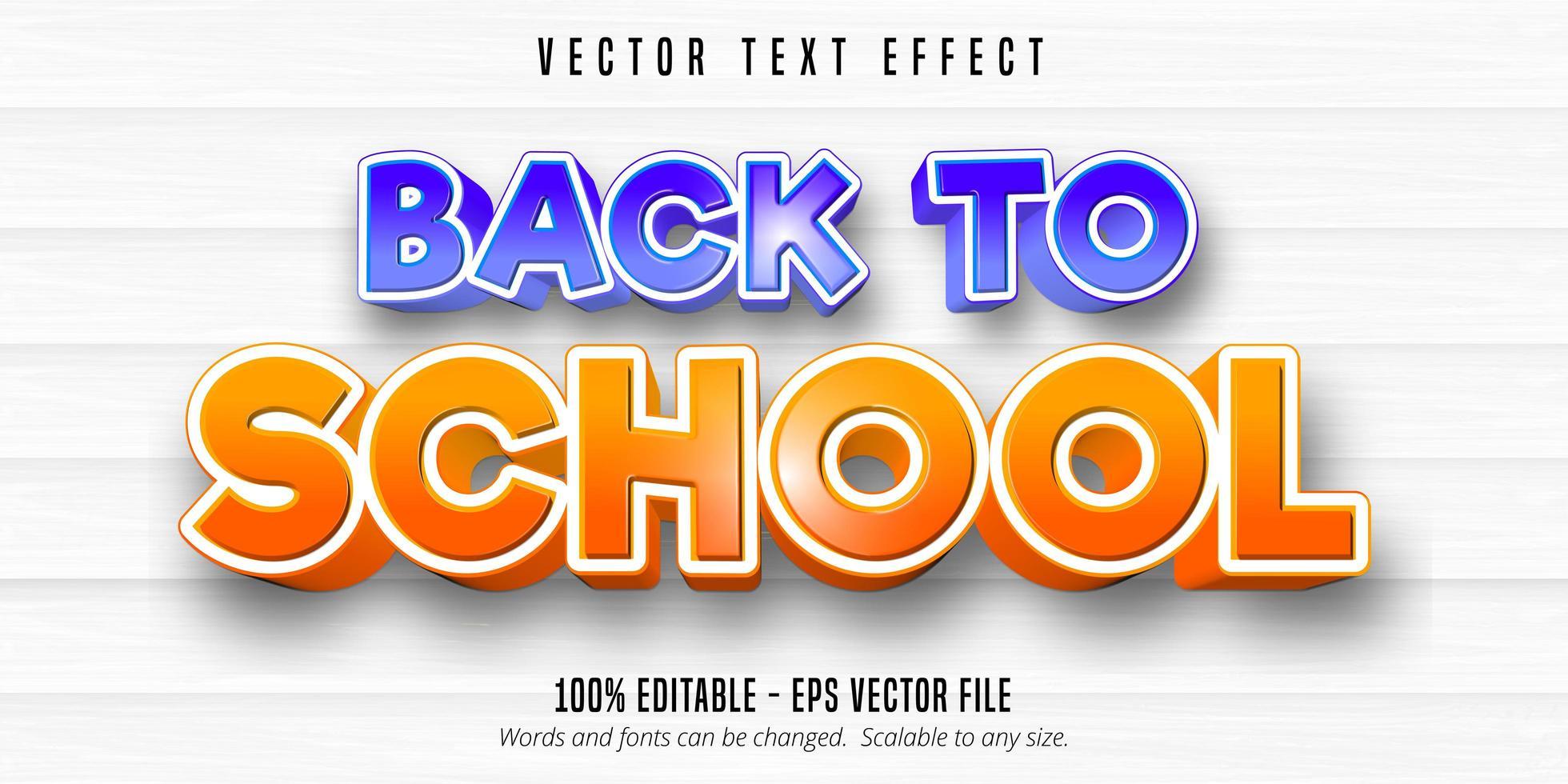 efeito de texto editável de estilo cômico de volta às aulas vetor