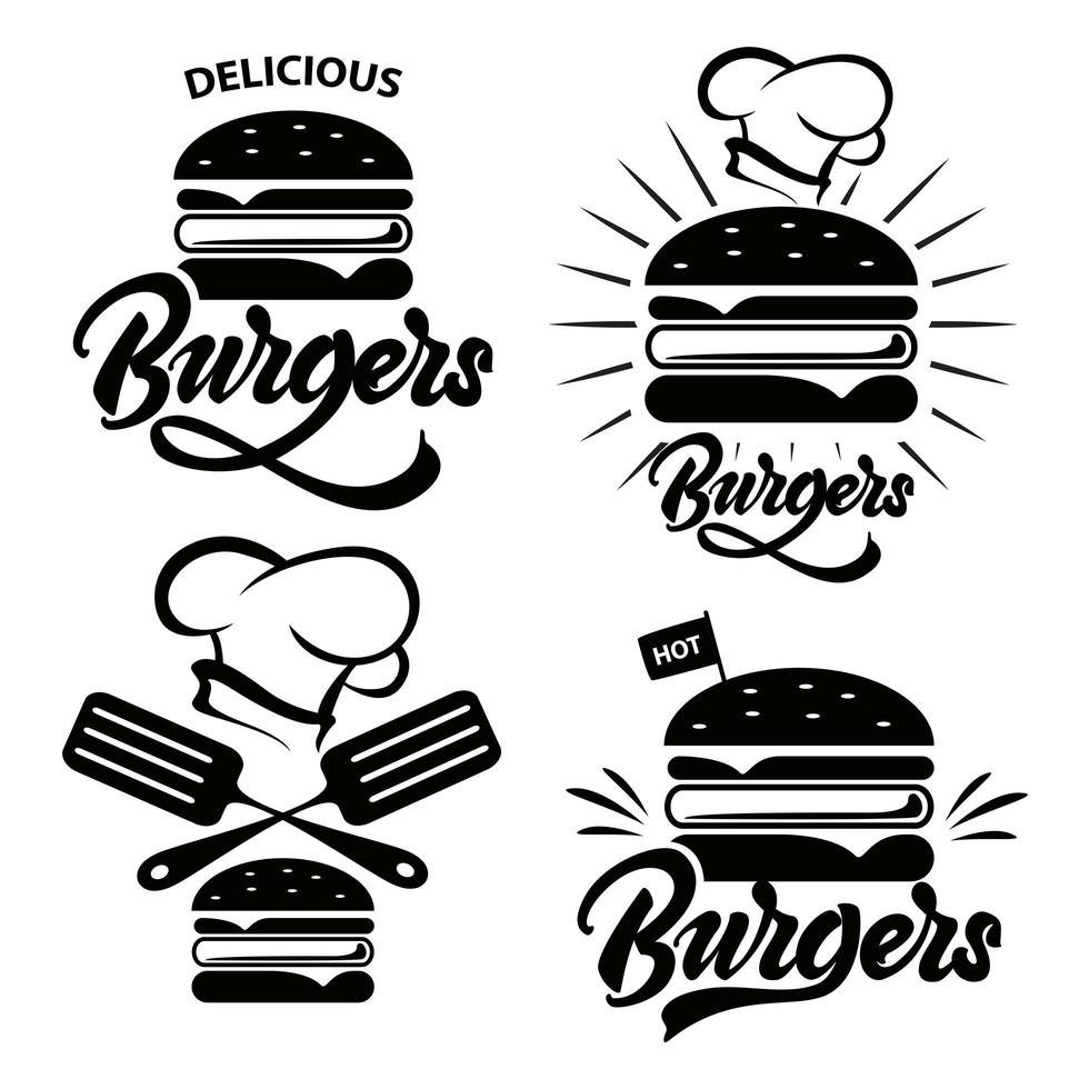 crachá de hambúrguer definido com letras. vetor