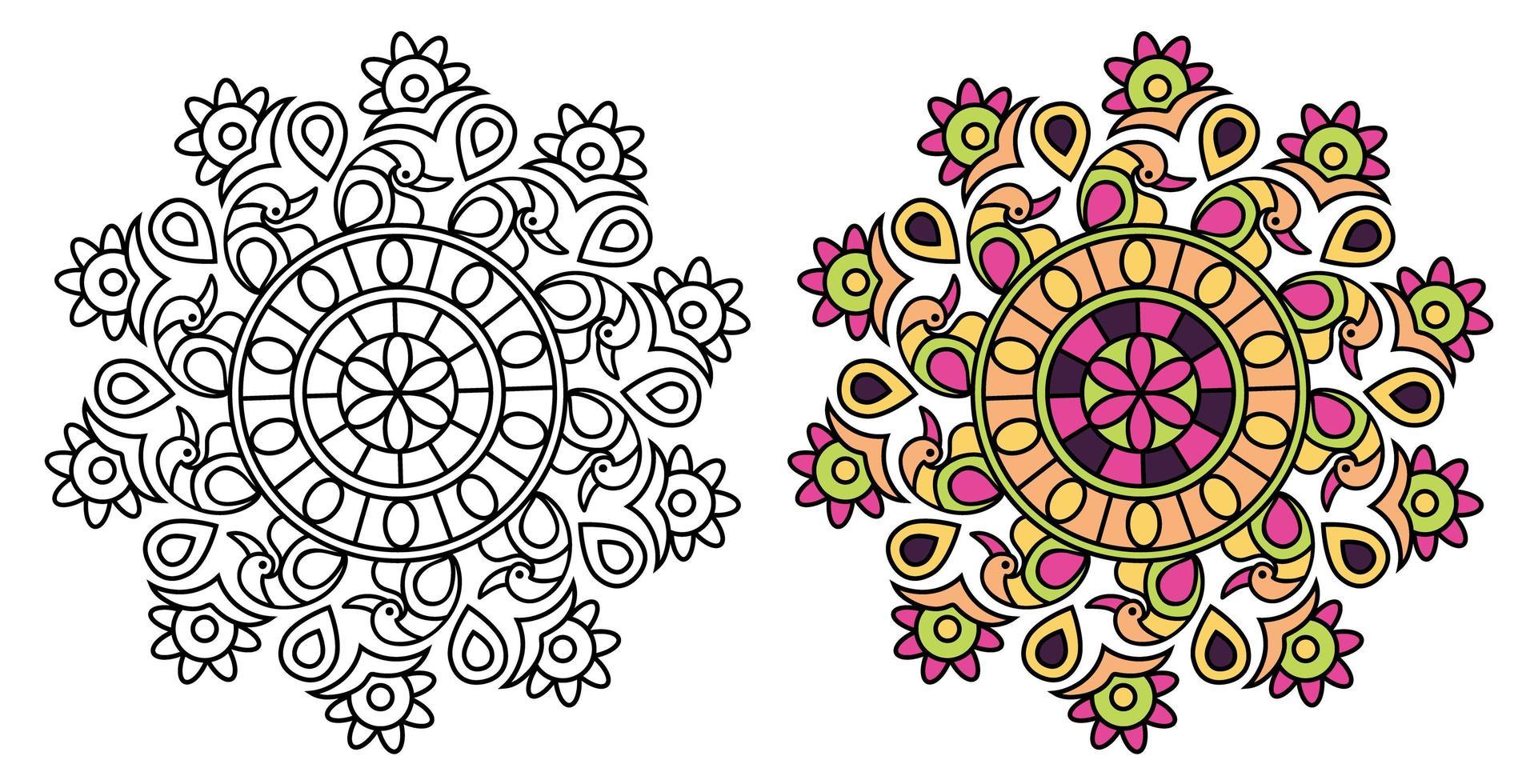desenho de mandala de estilo pavão para colorir vetor