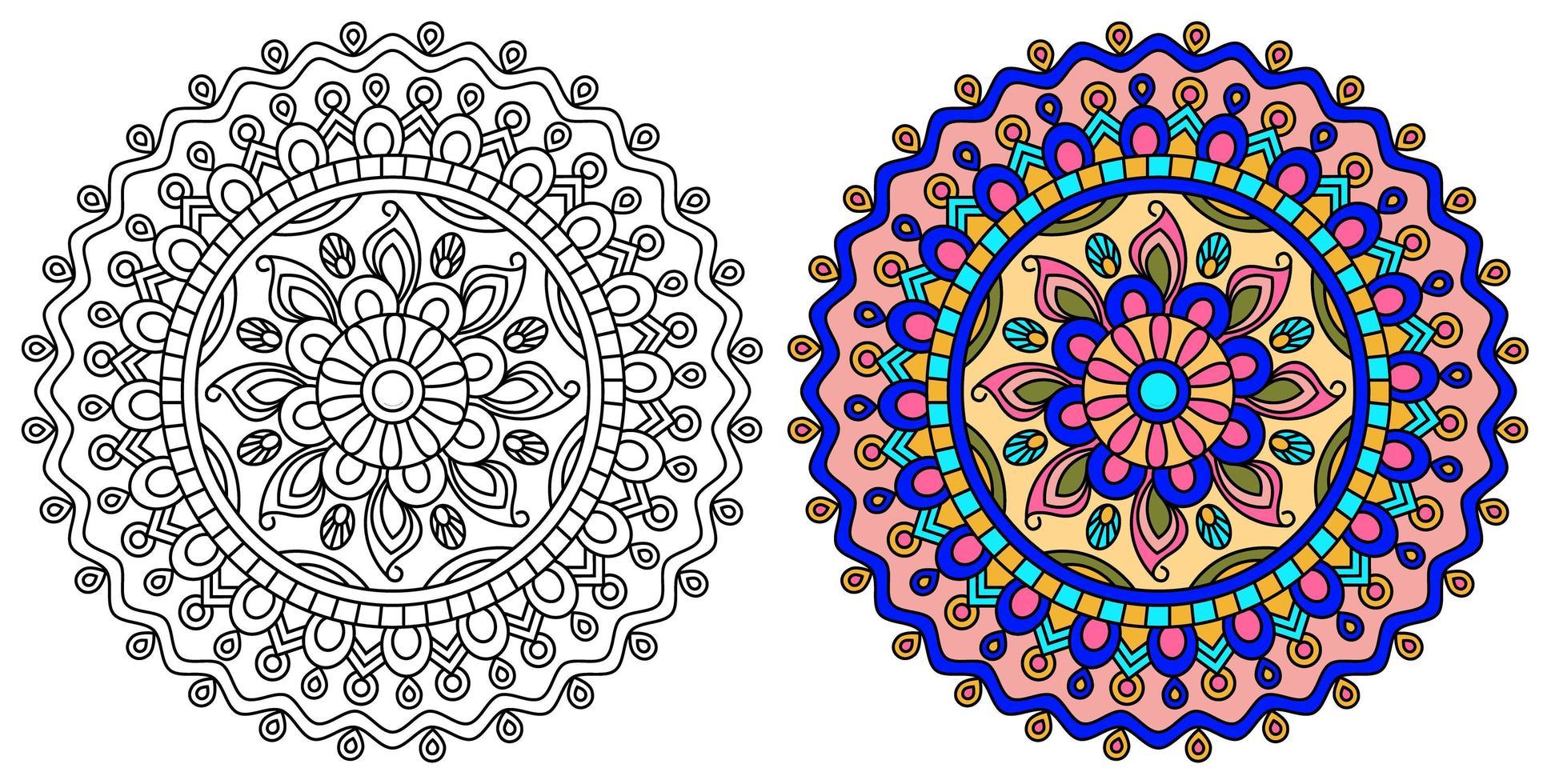 modelo de design de mandala rosa e roxo e amarelo vetor