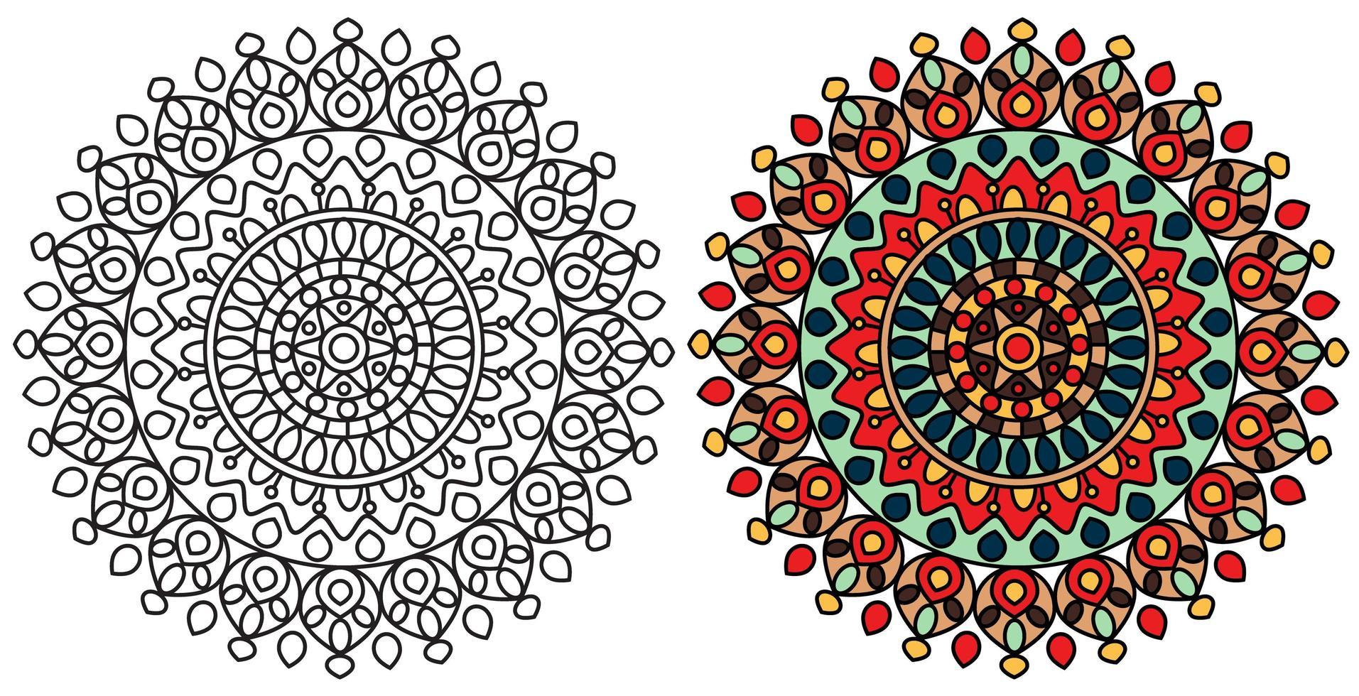 modelo de página para colorir colorido de mandala vetor