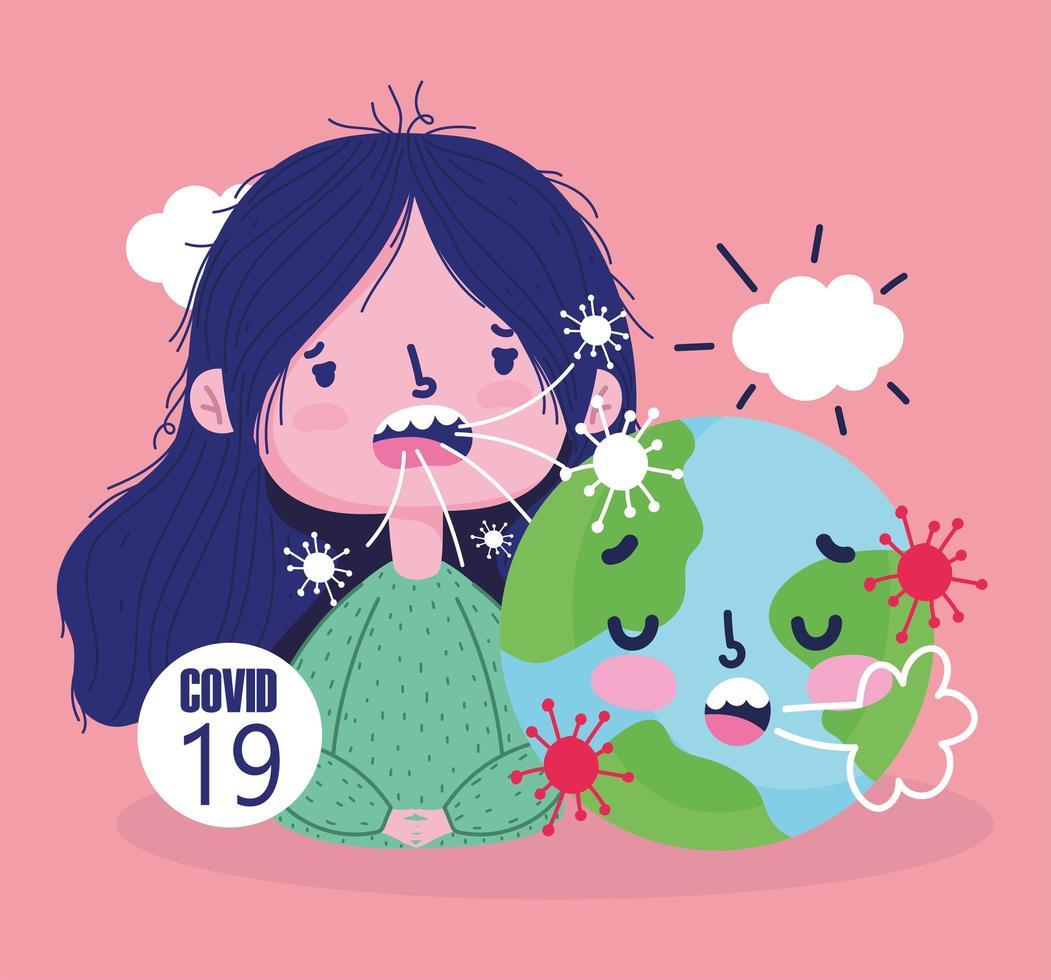 pandemia de vírus 19 secreta com menina e mundo doente vetor