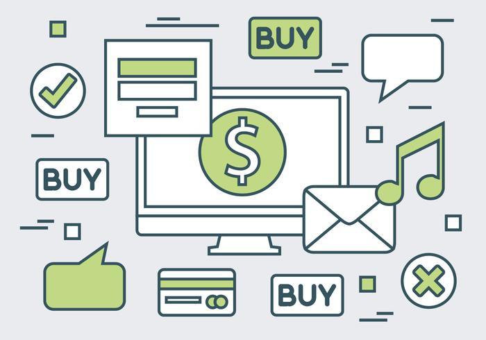 Online shopping linear website vector background