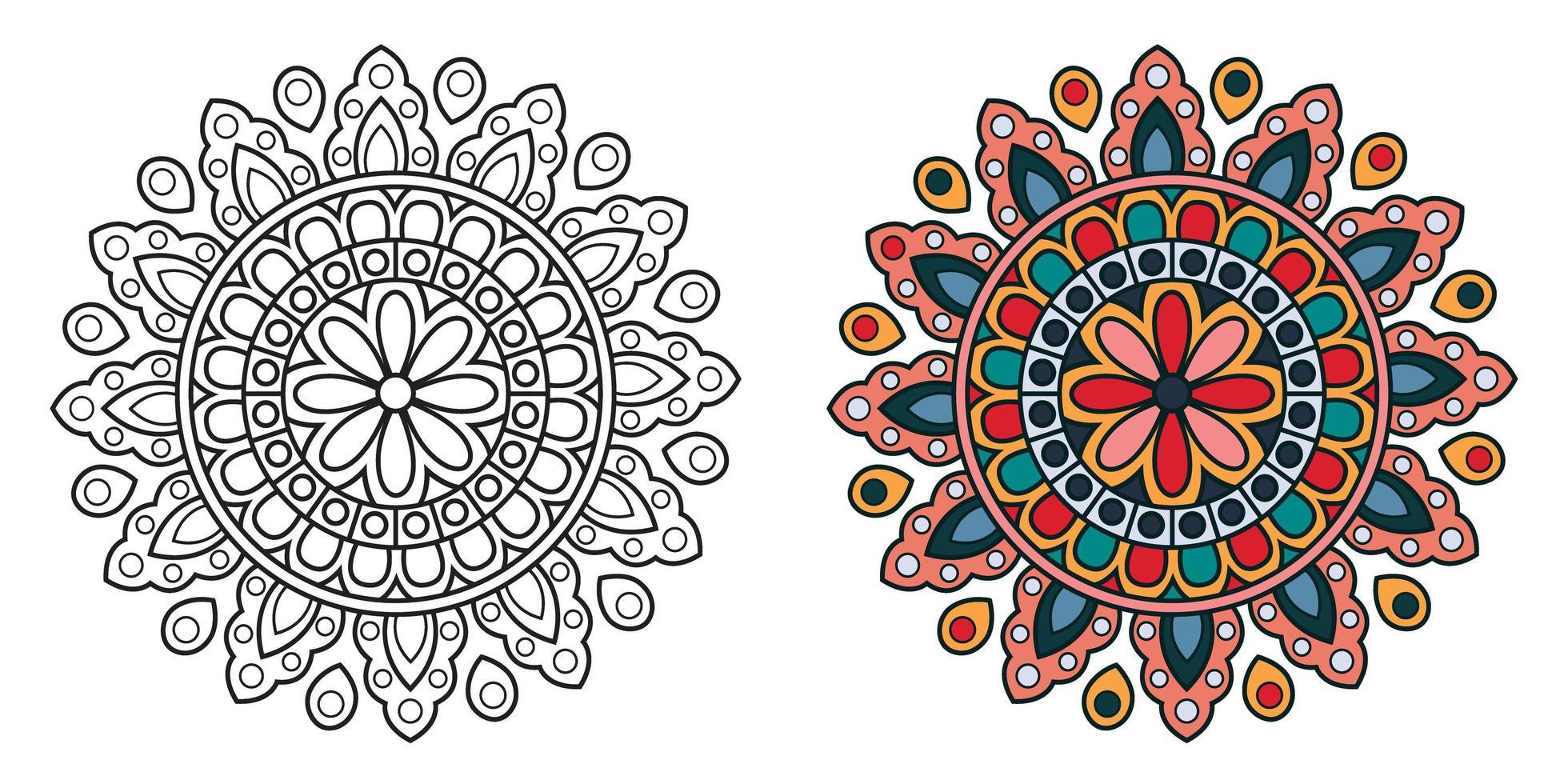 mandala decorativa de coloração circular vetor