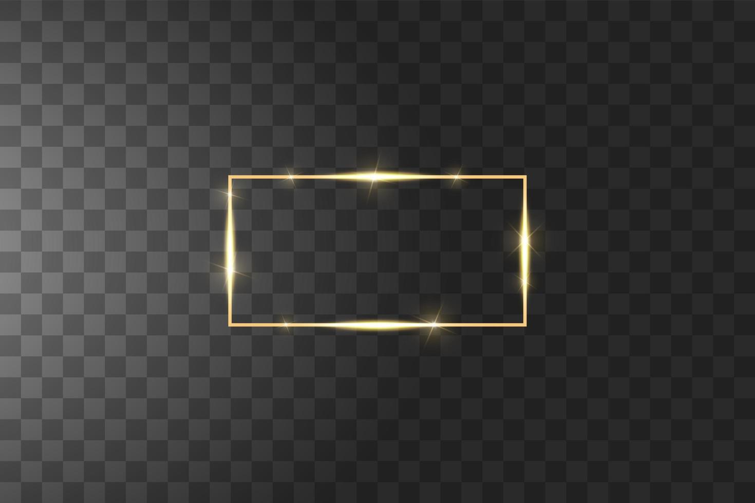 moldura dourada com efeitos de luz vetor