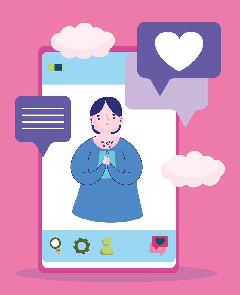 jovem em tela smartphone conversa bolhas amor vetor