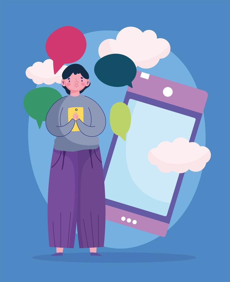 jovem usando smartphone conversa bolhas mensagens vetor