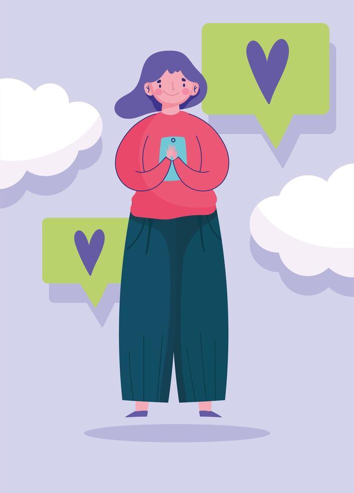 jovem usando smartphone conversa bolhas amor mensagens vetor