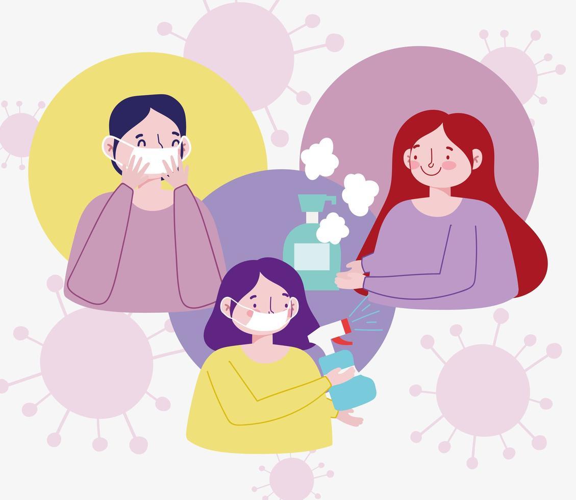 projeto de coronavírus com pessoas em máscaras e pulverização vetor