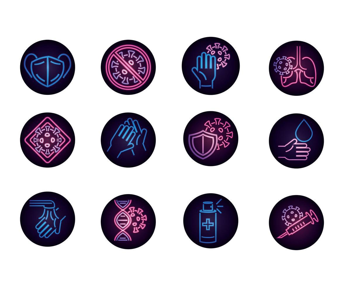 conjunto de ícones de néon circular de coronavírus vetor