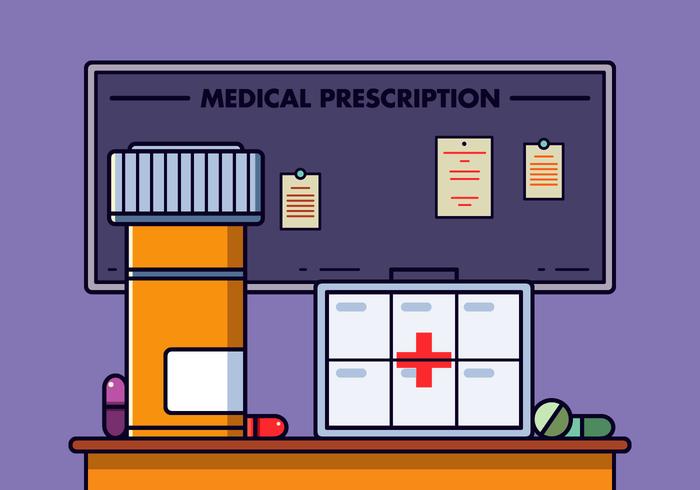 Vetor de caixa de comprimidos de prescrição gratuita
