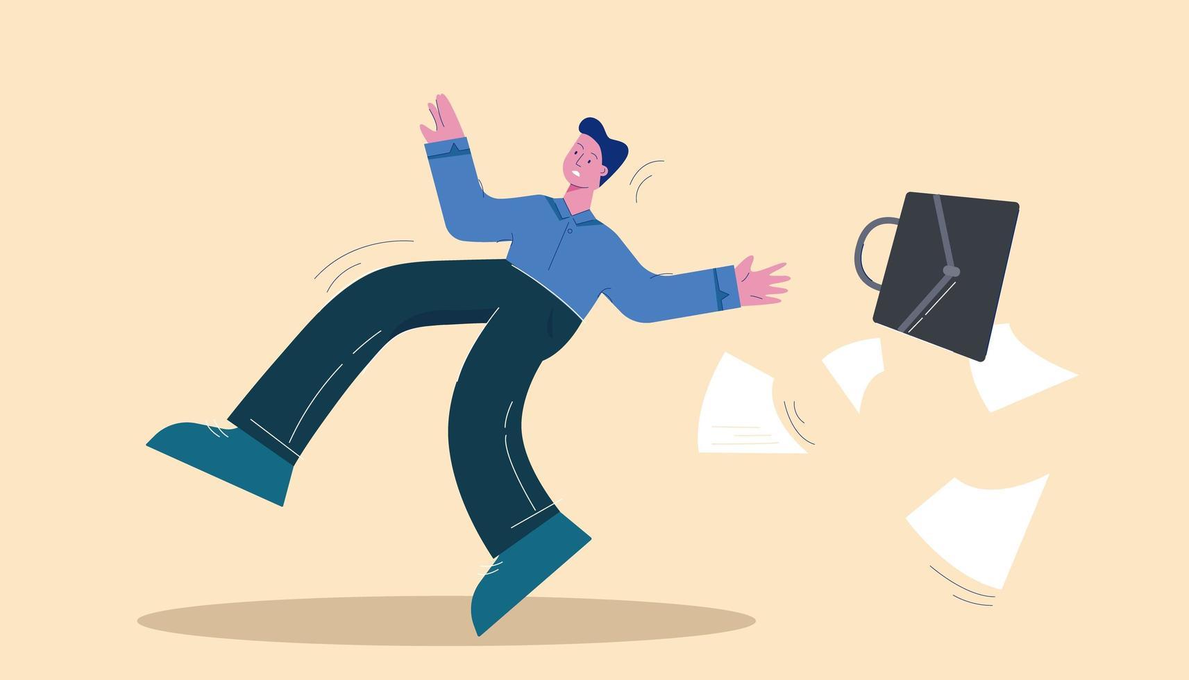 homem de negócios escorregou caindo com maleta vetor
