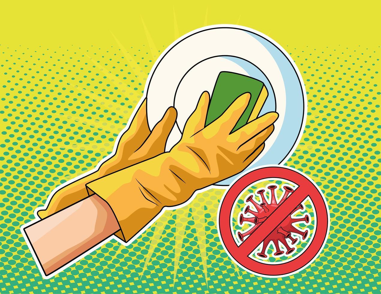 prevenção de utensílios de lavagem vetor