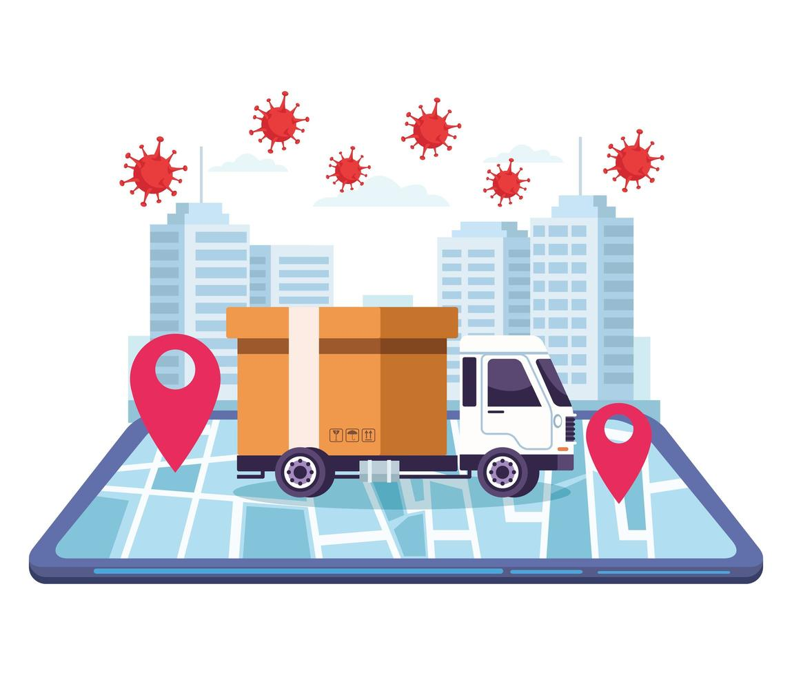 serviço online de entrega de caminhões vetor
