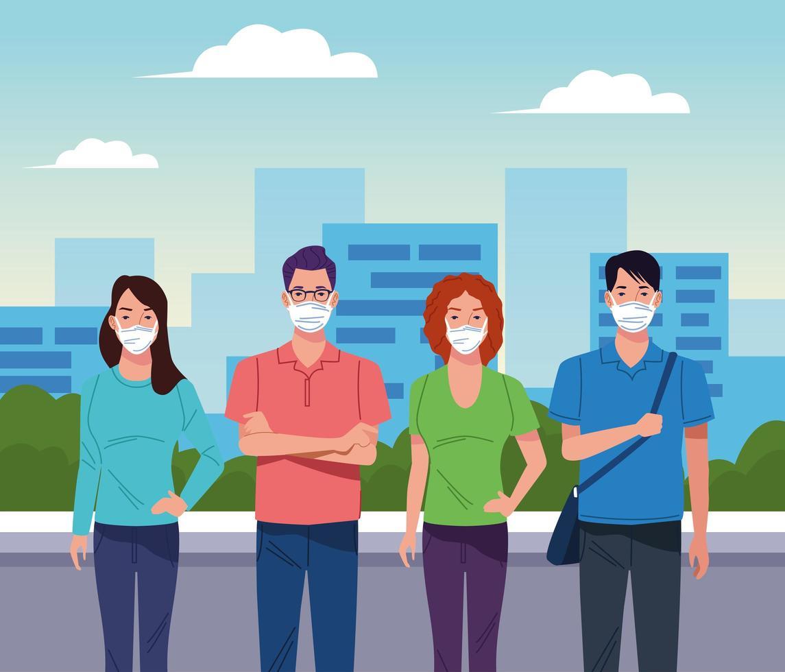 grupo de pessoas usando máscara facial vetor