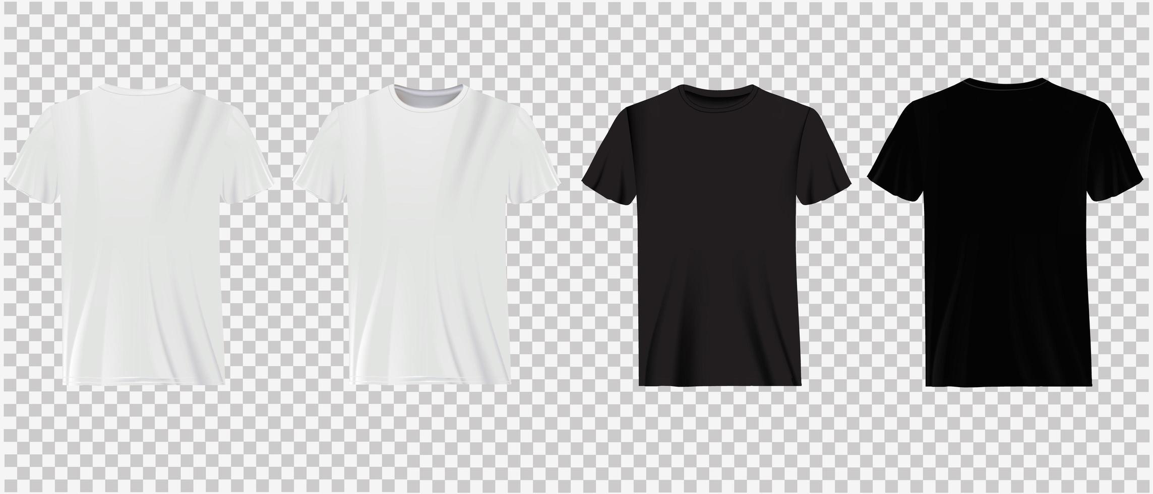 camisetas brancas e pretas sobre transparência vetor