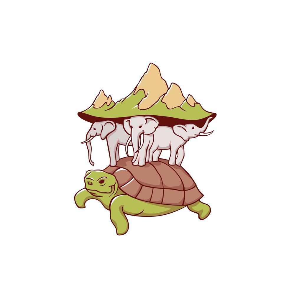 representação do planeta Terra com tartarugas, elefantes e paisagem vetor