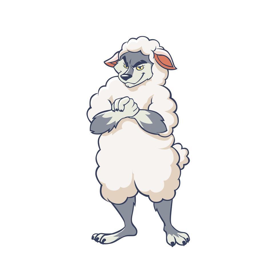 lobo dos desenhos animados, vestindo o personagem de roupa de ovelha vetor