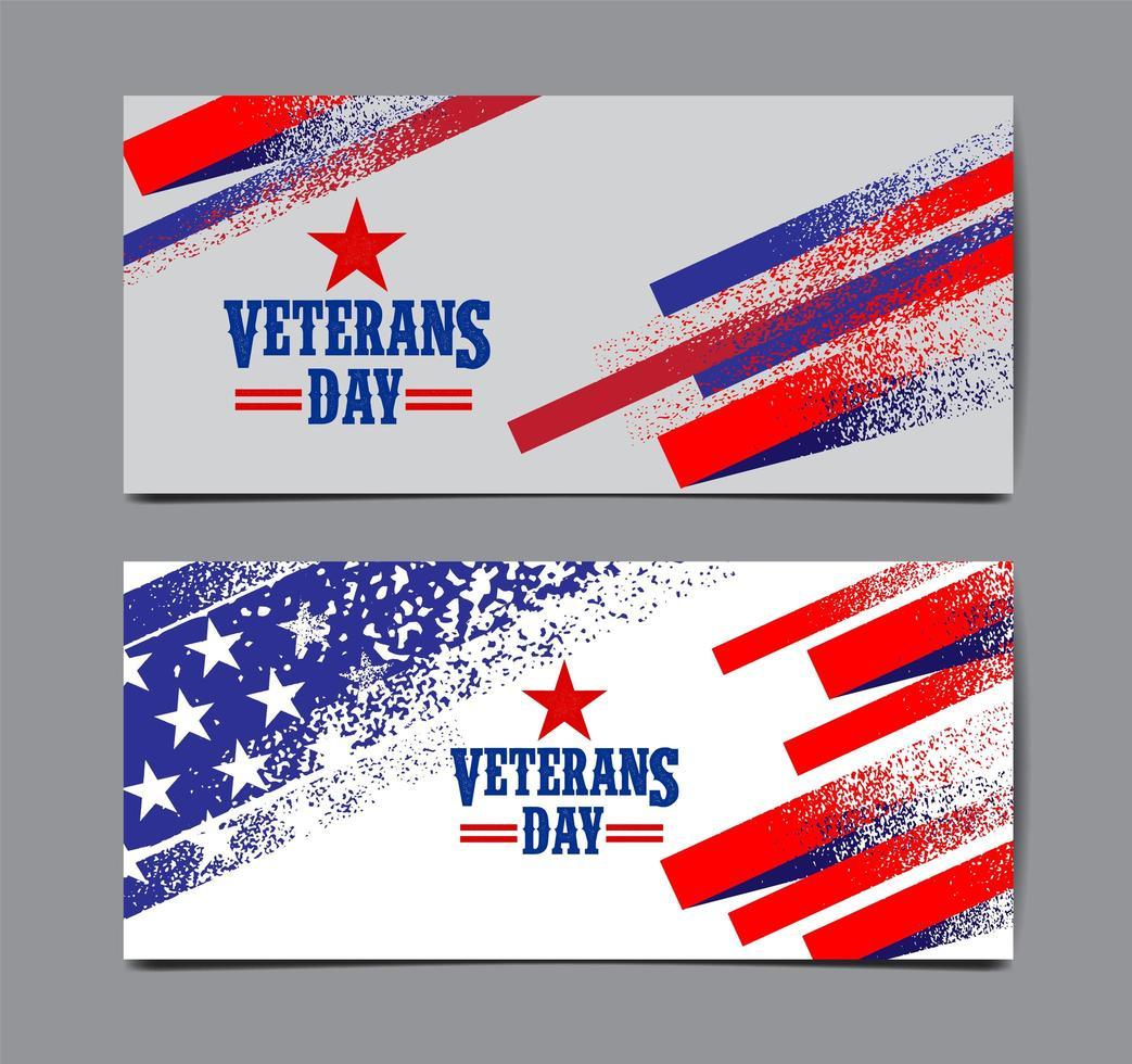 estilo grunge dia dos veteranos eua bandeira banner conjunto vetor