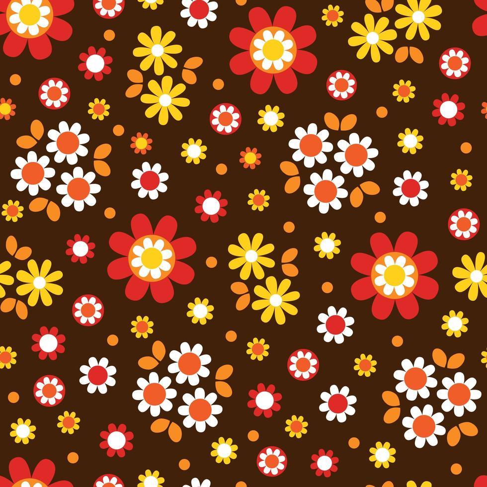 padrão sem emenda de flor bonito mod flor marrom vetor