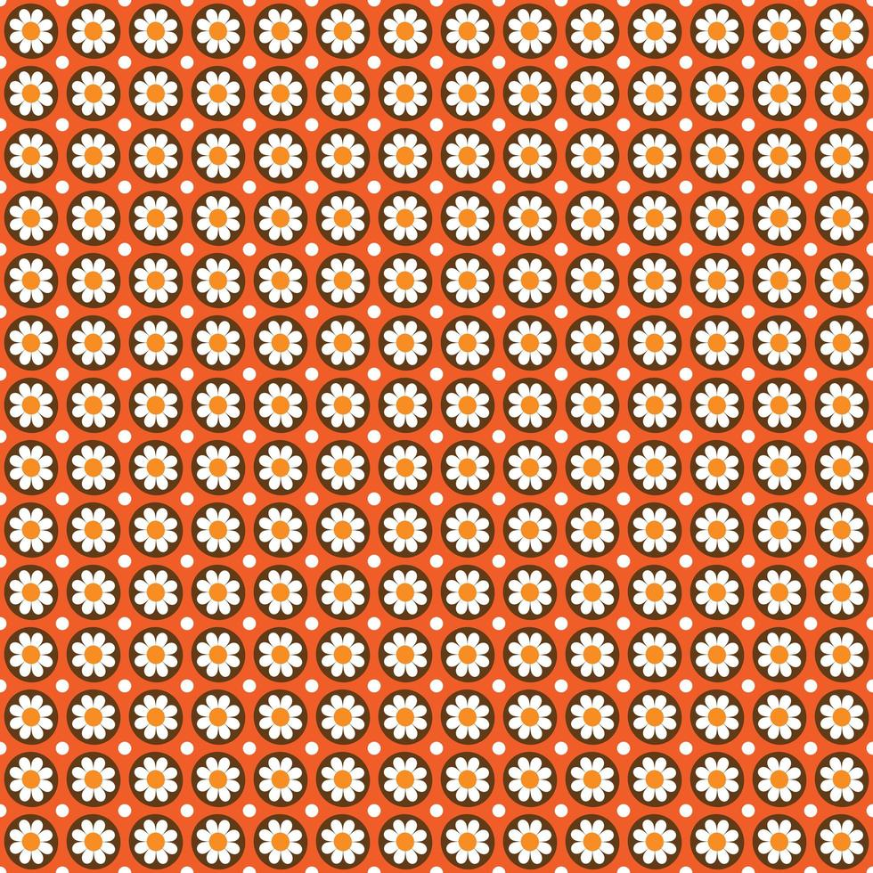 padrão sem emenda de estilo mod com flores em círculos na laranja vetor