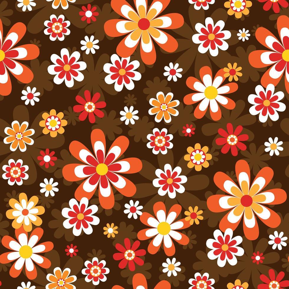 Padrão sem emenda floral de estilo mod dos anos 60 vetor