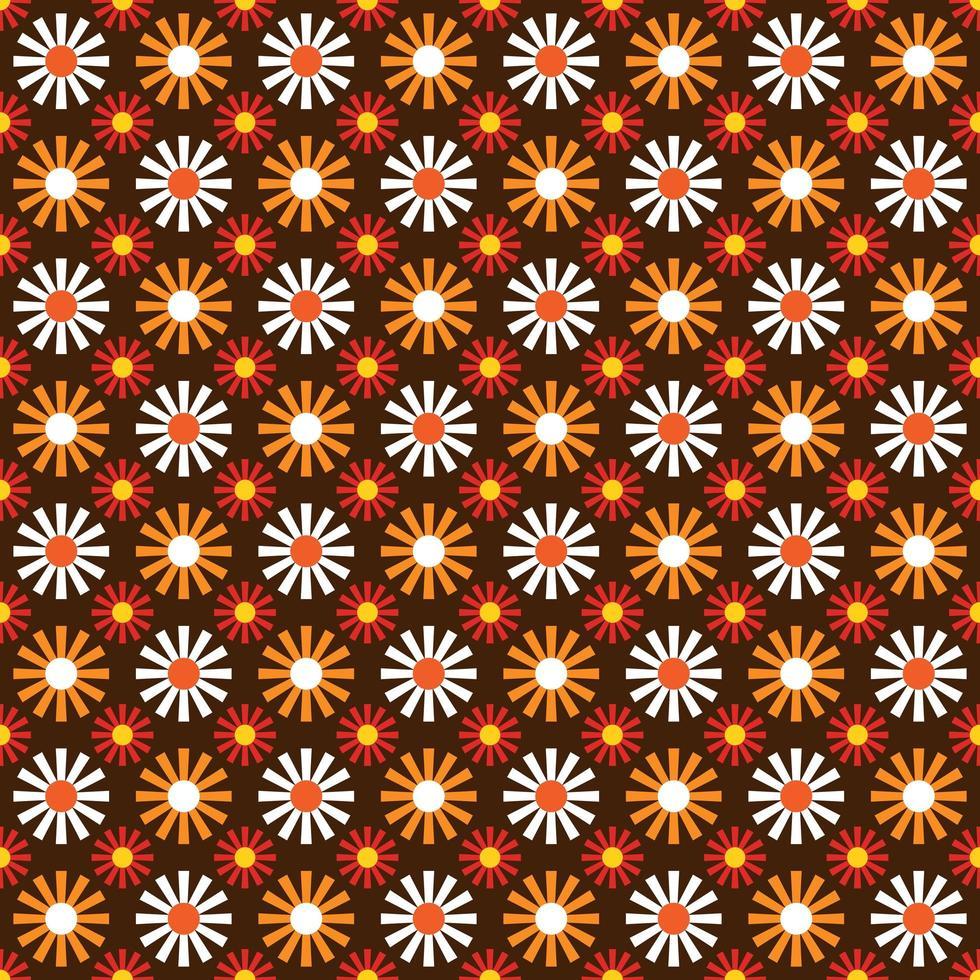 laranja e marrom mod flor padrão de flor vetor