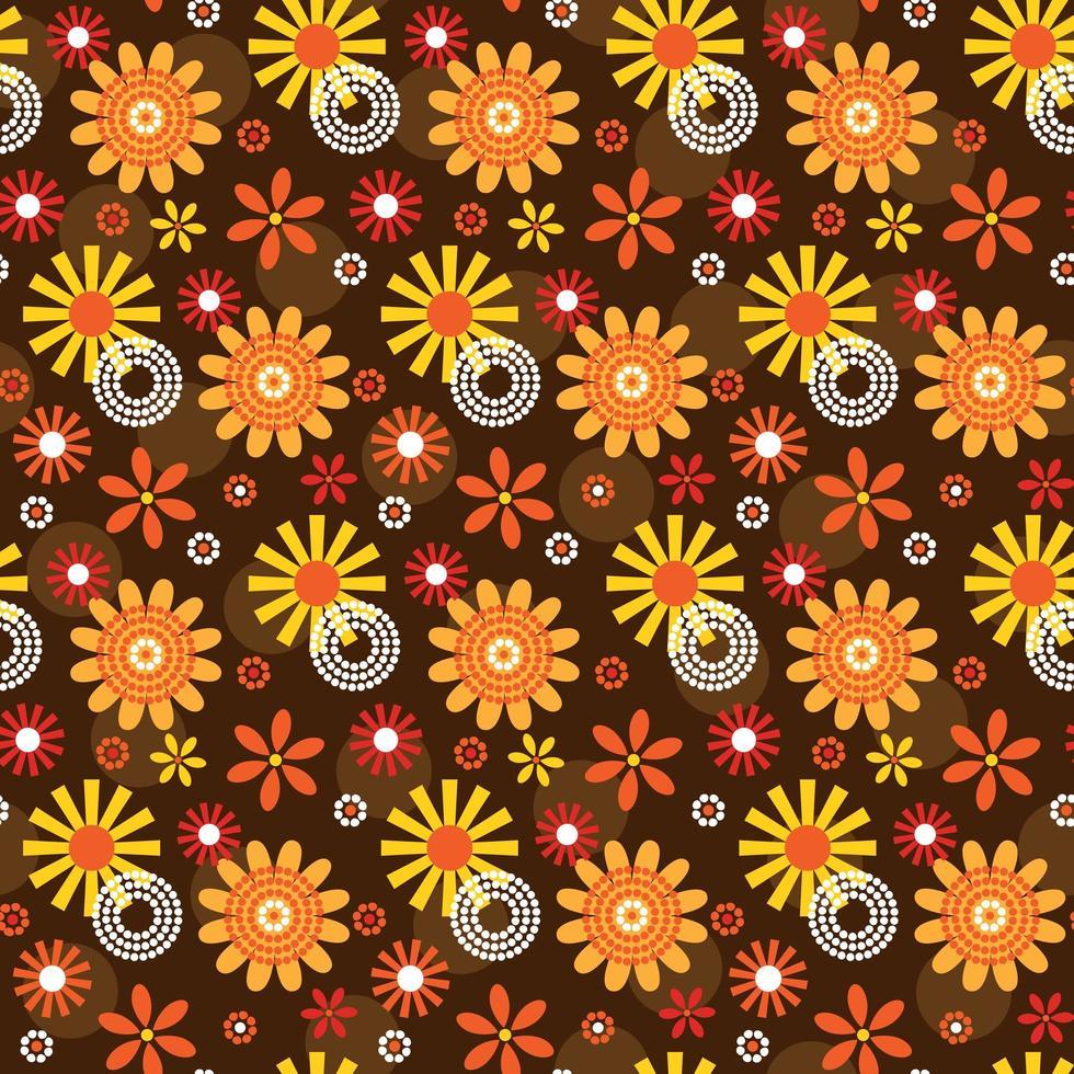 ornamentais mod estilo flor e círculo sem costura padrão vetor